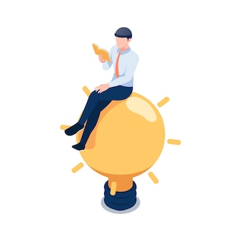 Flat 3d isometric businessman sitting on light bulb and reading book. business idea and education concept.