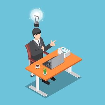 彼の机の上に座って、新しいアイデアを得たフラット3dアイソメトリックビジネスマン。ビジネスアイデアの概念。