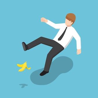 평평한 3d 아이소메트릭 사업가가 바나나 껍질에 미끄러졌습니다. 비즈니스 사고 개념입니다.