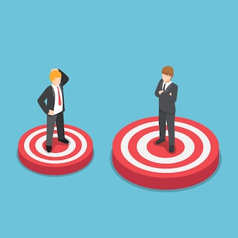 Flat 3d isometric businessman standing on bigger target than his friend. vision and business target concept.