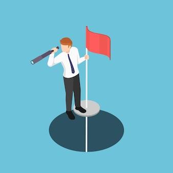 Плоские 3d изометрические бизнесмен, стоя на полюсе с телескопом, поднялись из отверстия. концепция бизнес-видения.