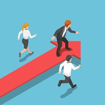 Плоские 3d изометрические бизнесмен, стоящий на красной стрелке в позиции лидера. бизнес-успех и концепция лидерства.