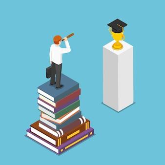 Плоские 3d изометрические бизнесмен, стоящий на стопке книг и глядя на выпускной колпачок под подзорную трубу. концепция видения образования и бизнеса.