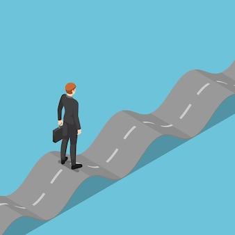 Плоские 3d изометрические бизнесмен, стоя на неустойчивой дороге. концепция бизнес-задачи.