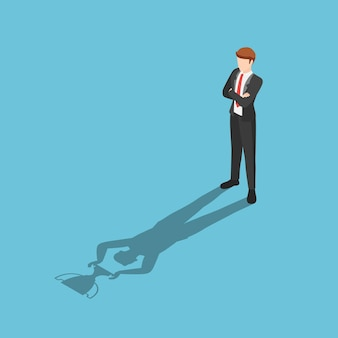 Flat 3d isometric businessman standing with his shadow holding winner trophy