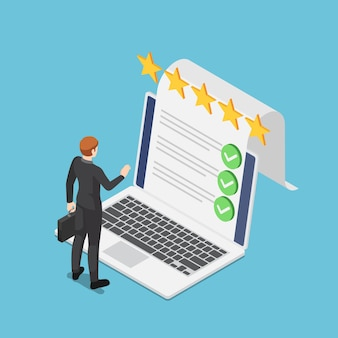 노트북 화면에서 온라인 설문 조사 문서 체크리스트와 함께 서 있는 평면 3d 아이소메트릭 사업가. 온라인 설문 조사 및 비즈니스 체크리스트 개념입니다.