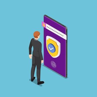 스마트폰에 방패와 보안 시스템을 들고 서 있는 평평한 3d 아이소메트릭 사업가. 스마트폰 보안 시스템 및 데이터 보호 개념입니다.