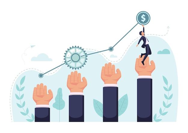 フラットな3dアイソメトリックビジネスマンは、グラフの上部に到達するためにビジネスの手でステップアップします。ビジネスアシスタントとチームワークの概念。