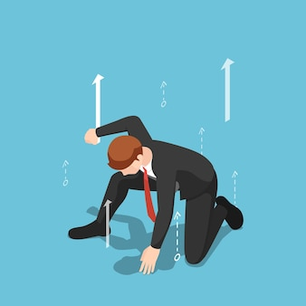 Flat 3d isometric businessman in superhero landing pose with growth arrow. business leader and leadership concept.
