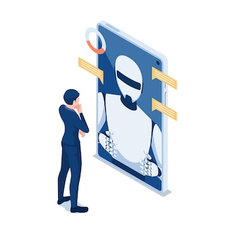 Flat 3d isometric businessman talking with chat bot in smartphone. chatbot online customer support or artificial intelligence robot assistant concept.