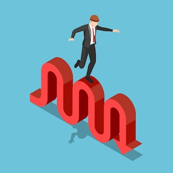 Flat 3d isometric businessman try to walk and balancing on stock market fluctuation arrow. financial crisis and investment risk concept.