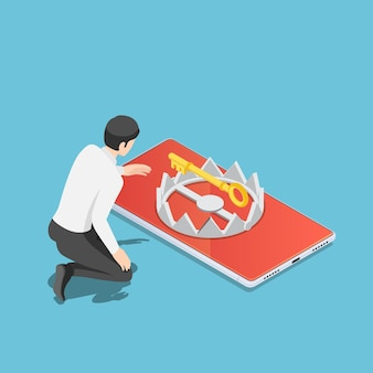 Flat 3d isometric businessman trying to get golden key from trap on smartphone