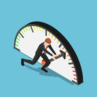 Flat 3d isometric businessman trying to push meter to the maximum position
