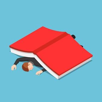 큰 책에서 평면 3d 아이소메트릭 사업가입니다. 교육 및 정보 과부하 개념입니다.