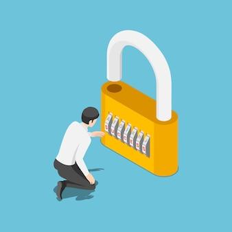Плоские 3d изометрические бизнесмен разблокировать замок по коду успеха. успех в бизнесе и раскрытие потенциальной концепции.