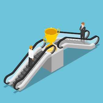 평평한 3d 아이소메트릭 사업가는 승자 트로피에 도달하기 위해 에스컬레이터를 사용합니다. 비즈니스 성공 개념에 대한 바로 가기입니다.
