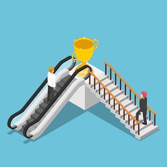 평평한 3d 아이소메트릭 사업가는 에스컬레이터와 계단을 통해 다른 성공 방법을 사용합니다. 비즈니스 솔루션 및 성공 개념에 대한 지름길입니다.