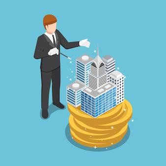 フラットな3dアイソメトリックビジネスマンは、魔法を使ってお金のコインでビジネスを構築します。ビジネスの成功と不動産のコンセプト。