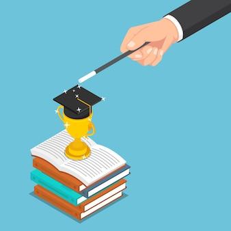 평평한 3d 아이소메트릭 사업가는 마법을 사용하여 책에 트로피와 졸업 모자를 만듭니다. 비즈니스 성공과 교육 개념입니다.