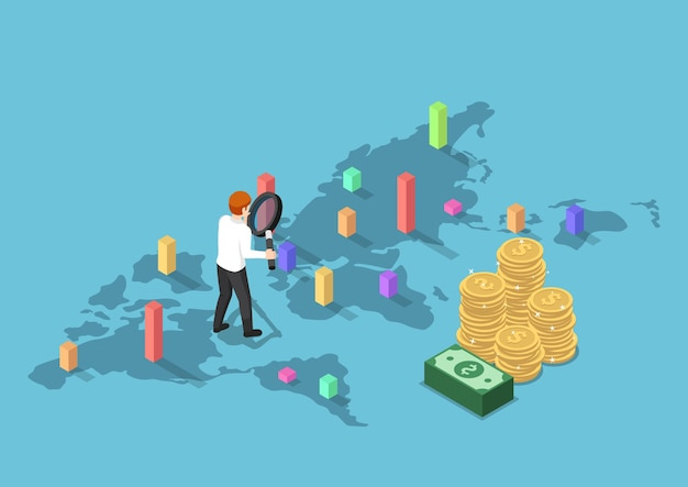 Flat 3d isometric businessman use magnifying glass to analyse graph each country on world map. investment opportunity and business analysis concpet.