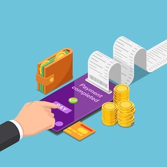 평평한 3d 아이소메트릭 사업가는 스마트폰을 사용하여 온라인으로 돈을 지불합니다. 모바일 결제 및 온라인 쇼핑 개념입니다.