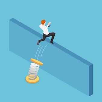 평평한 3d 아이소메트릭 사업가는 봄을 사용하여 벽을 뛰어 넘습니다. 비즈니스 솔루션 및 장애물 개념을 극복합니다.