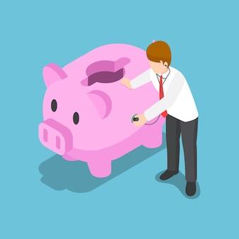 평평한 3d 아이소메트릭 사업가는 청진기를 사용하여 돼지 저금통 건강을 확인합니다. 금융 개념입니다.