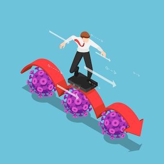 Плоский 3d изометрический бизнесмен, использующий деловую сумку в качестве доски для серфинга, серфинг на красной стрелке над вирусом covid-19. covid-19 влияет на бизнес-концепцию.