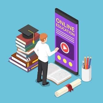 스마트폰에서 전자 학습 또는 온라인 교육 응용 프로그램을 사용하는 평면 3d 아이소메트릭 사업가. 온라인 교육 개념입니다.