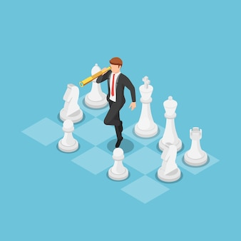 Flat 3d isometric businessman using telescope and on chess board business strategy concept