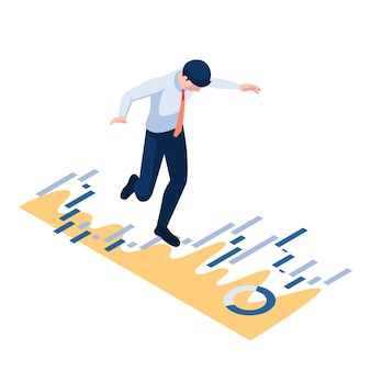 Flat 3d isometric businessman walking and balancing on financial graph. business and finance concept.