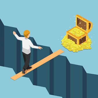 Flat 3d isometric businessman walking on small bridge over abyss to the treasure box. high risk high return. business risk concept.