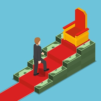 Flat 3d isometric businessman walking up to king throne on dollar ladder. business success concept.