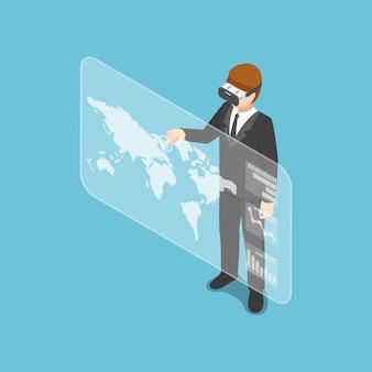 バーチャルリアリティヘッドセットを着用し、ビジネスチャートを分析するフラットな3dアイソメトリックビジネスマン。ビジネスと技術の概念。