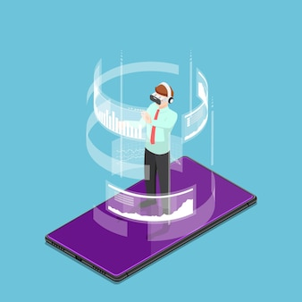 Flat 3d isometric businessman wearing virtual reality headset and standing on smartphone. augmented and virtual reality technology concept.