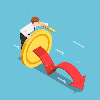 Flat 3d isometric businessman with golden coin and telescope looking forward. long term investment concept.