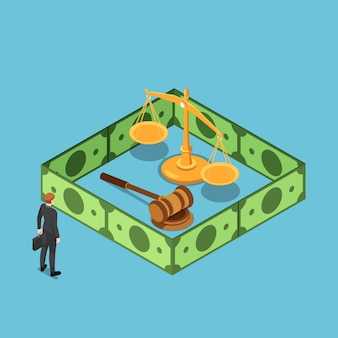 Flat 3d isometric businessman with justice scale gavel surrounding by dollar bill wall