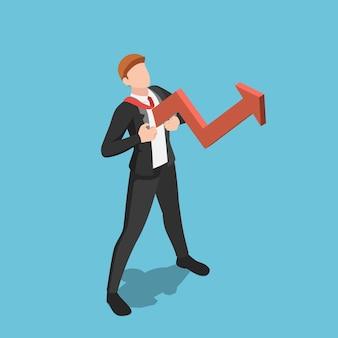 赤い成長矢印の付いたフラットな3dアイソメトリックビジネスマンが胸から出てきます。ビジネスコンセプトにおける成長マインドセットと前向きな姿勢。
