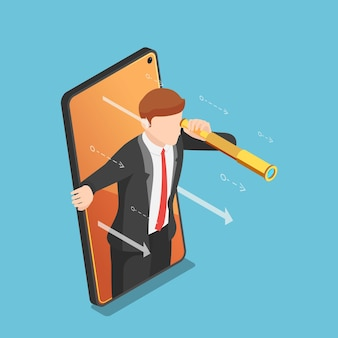 Плоские 3d изометрические бизнесмен с телескопом выходят из экрана смартфона. бизнес-видение и концепция цифрового маркетинга.