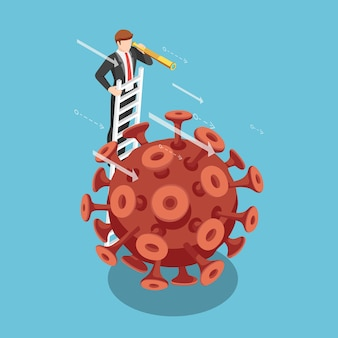 Flat 3d isometric businessman with telescope on the ladder looking forward over covid-19 virus. business vision after covid-19 virus situation concept.
