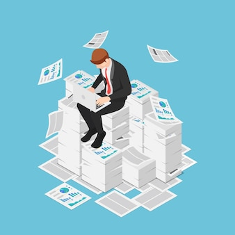 Flat 3d isometric businessman working with laptop on the piles of papers and documents