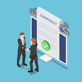 Flat 3d isometric businessmen shaking hand with online agreement contract document on pc monitor. online business agreement.