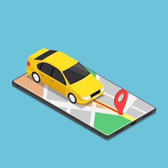 フラット3dアイソメトリックカーはスマートフォンでgpsマップナビゲーションアプリケーションを使用します。モバイルgpsマップナビゲーション技術の概念。