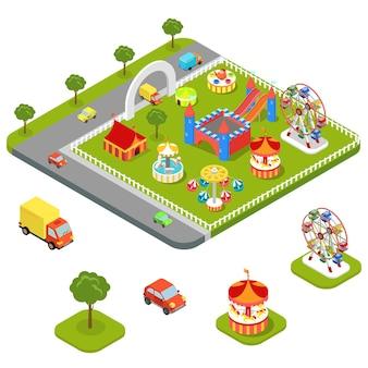 Плоская 3d изометрическая карусель аттракцион развлечений, парк развлечений, набор иконок