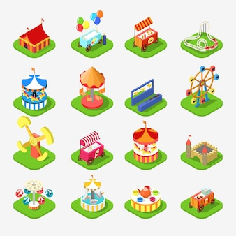 Flat 3d isometric carousel attraction