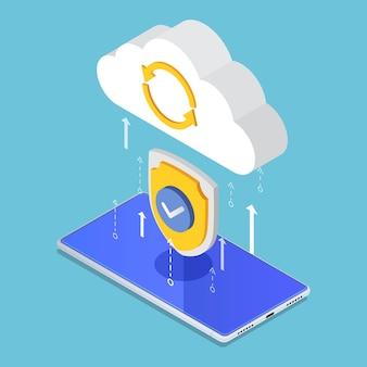 보안 실드로 보호하는 플랫 3d 아이소메트릭 클라우드 컴퓨팅 업로드. 데이터 보호 및 클라우드 컴퓨팅 보안 개념.
