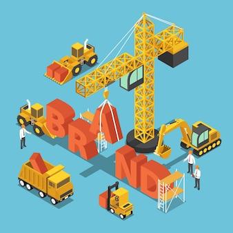 ブランドワードを構築するフラット3dアイソメトリック建設現場の車両。ビジネスブランド構築のコンセプト。