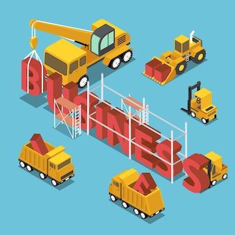 ビジネスワードを構築するフラット3dアイソメトリック建設現場の車両。ビジネスとブランド構築のコンセプト