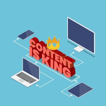 フラット3dアイソメトリックコンテンツは、電子機器、pc、コンピューター、ラップトップ、スマートフォン、タブレットに接続されたクラウン付きのキングテキストです。デジタルコンテンツマーケティングの概念。