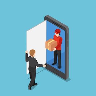 Плоский 3d изометрический доставщик выходит из смартфона и доставляет пакет. интернет-магазин и концепция доставки.